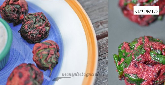 Baked spinach-beets balls with yogurt cinnamon chili pepper dip