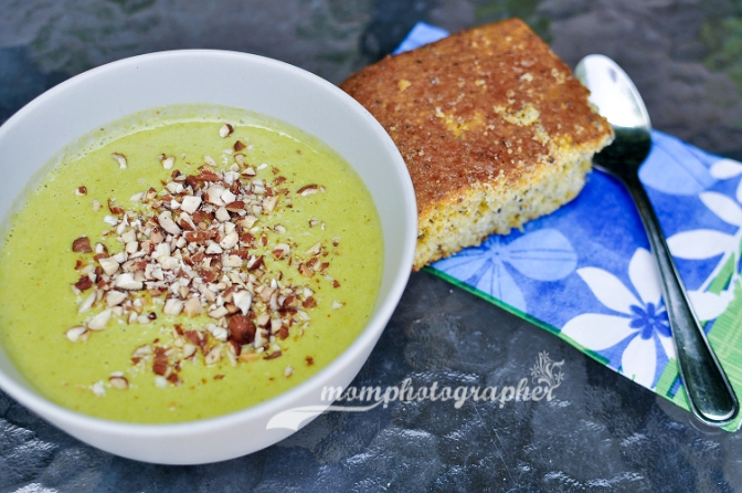 Baked potato-kale soup with sweet cornbread