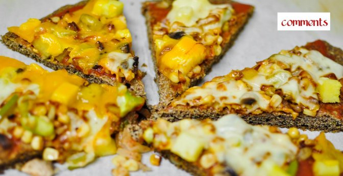 Flax-seed meal pizza crust